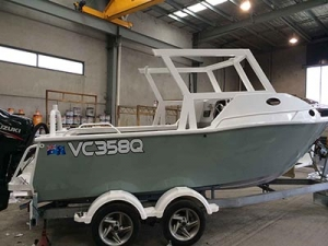A boat that received industrial coatings on the Sunshine Coast